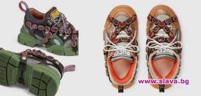 Маратонки на Gucci с кристали, приличащи на туристически обувки, станаха