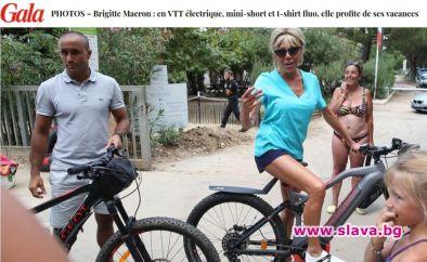 Съпругата на френския президент Еманюел Макрон - Брижит, предприе велопоход