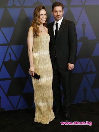 Хилари Суонк и новият ѝ съпруг Филип Шнайдер за първи