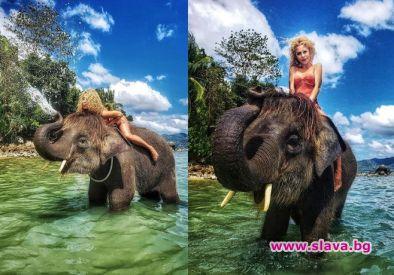 На слон се качи Ася Капчикова. Плеймейтката и бивше гадже